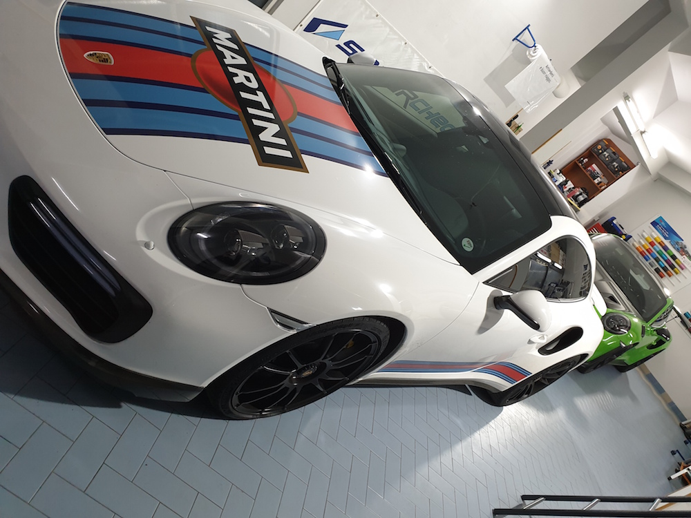 Wrapping Porsche Turbo S Bianco Lucido